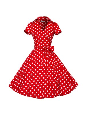 Vintage Classy V Neck Audrey Hepburn Polka Dot Rockabilly Dress CF1384