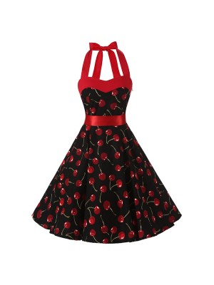 1950s 1960s 1970s Retro Audrey Hepburn Swing Pinup Cherry Rockabilly Dress CF1013 Cherry