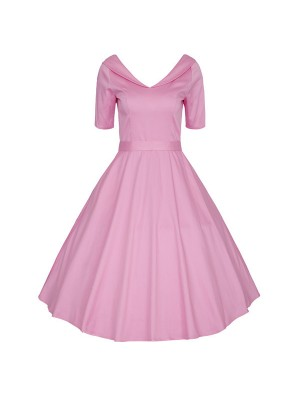 1950s Audrey Hepburn V-Neck Vintage Rockabilly Swing Evening Party Dress CF1501 Pink_01