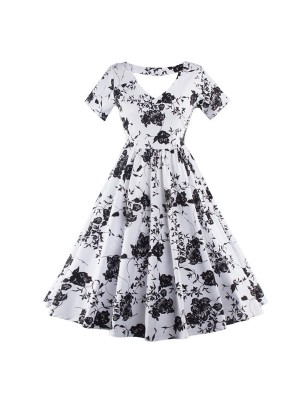 1950s Rockabilly Swing Classy Floral Vintage Short Sleeve Evening Party Dress CF1238_01