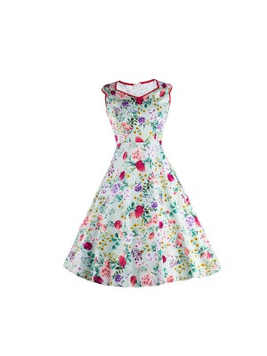 1950s V-Neck Vintage Rockabilly Multi Floral Swing Evening Party Dress CF1233_01