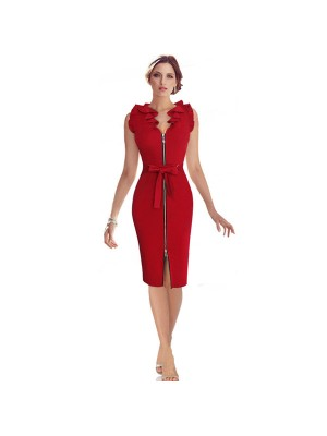 1950s Vintage Knee Length Sleeveless Waistband Zip-up Single Color Party Swing Dress CF1519 red