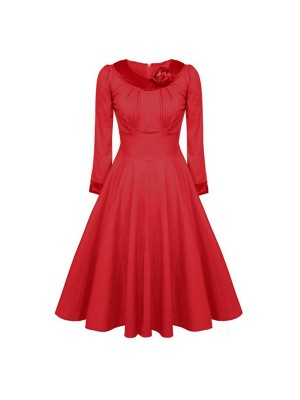 1950s Vintage Long Sleeve Collared Single Color Party Swing A-line Dress CF1508 red