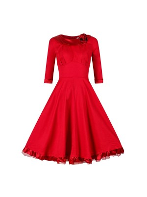 1950s Vintage Long Sleeve Flowered Zip-up Lace Single Color Party Swing A-line Dress CF1530 red