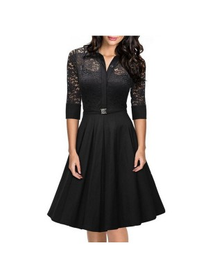 1950s Vintage long Sleeve Lace Waistband Collared Single Color Party Swing A-line Dress CF1528 black