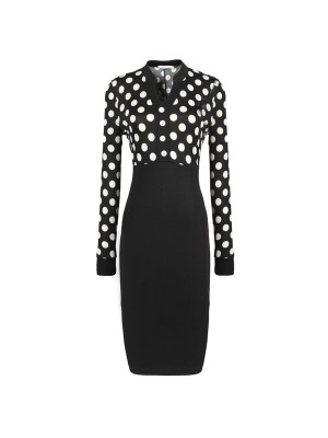 1950s Vintage Long Sleeve Office Polka Dots Party Pencil Dress CF1211