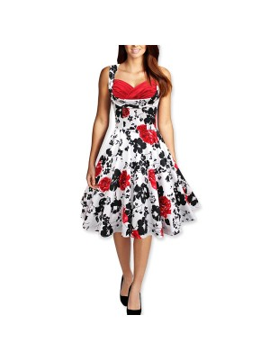 50s 60s Vintage Floral Print Divinity Rockabilly Swing Retro Pin Up Dresses red flower