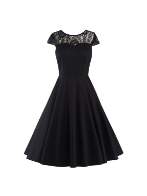 Pinup Lace Sweetheart Neckline Vintage Cap Sleeve Rockabilly Swing Dress CF1289 Black_01
