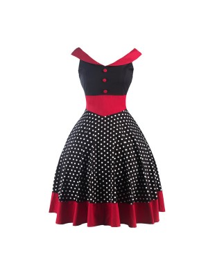 A-line Rockabilly Swing 1950s V-Neck Sleeveless Vintage Evening Party Dress CF1241_01