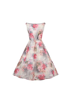 Audrey Hepburn Rockabilly Swing Sleeveless Retro Vintage Floral Spring Dress CF1391_01