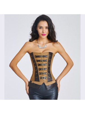 Authentic Brown Retro Leather Denim Zipper Side Steel Boned Corset CF6008 bronze