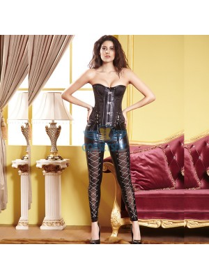 Black Ribbon Buckle Victorian Steampunk Corset with Rock Chain Trousers CF6809