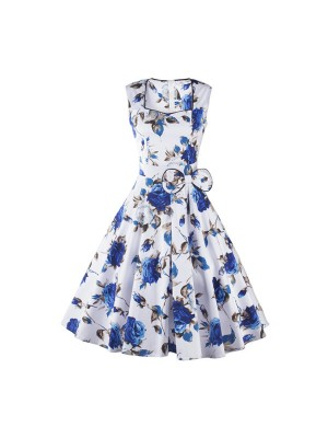 Blue Floral Print Rockabilly Vintage Bowknot Sleeveless White Swing Dress CF1253_01