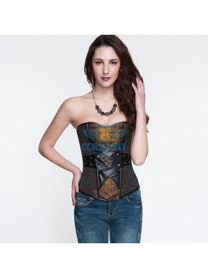 Chinese Word Printed With Black Imitation Leather Burlesque Overbust Corset CF5332