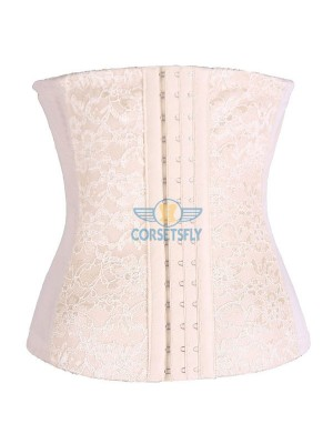 Classic 3 Rows Of Hook Eye Lace Steel Boned Underbust Corset CF5507 Beige_05