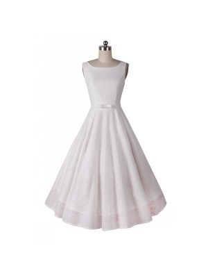 Classic and Iconic Audrey Hepburn 1950s Vintage Rockabilly Swing Dress white