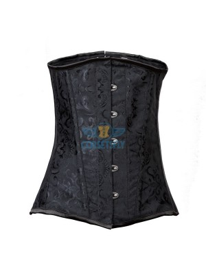 Classic Steel Boned Black Brocade Waist Reducing Training Underbust Corset CF7535