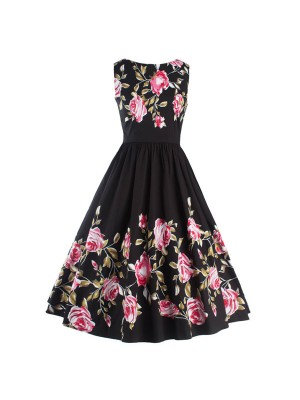 Classy Floral Print Rockabilly Vintage Pinup Sleeveless Black Swing Dress CF1251_01