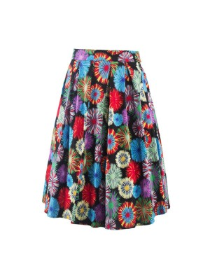 Classy Vintage Pinup Vibrant Pattern Print Pleated Rockabilly Midi Swing Skirt CF1255 Multi_01