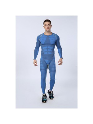 Comfortable Men's Body Muscle Compress Sportswear CF2110 blue