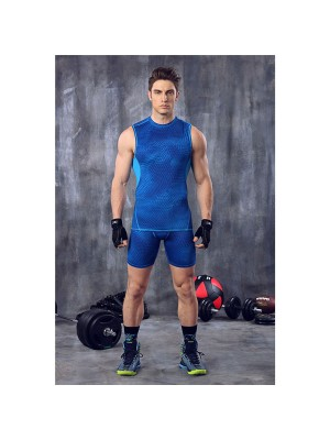 Comfortable Men's Body Shaper Compress Undershirt CF2116 blue
