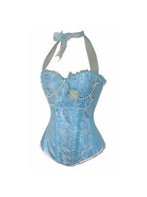 Cute Pearl Chain Embelishment Ribbon Lace Halterneck Blue Burlesque Corset CF5112 Blue