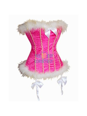 Cute Pink Fluffy Trim Bowknot Golden String Embelishment Overbust Corset CF5059 Pink