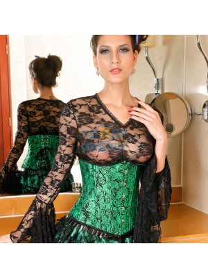 Darling Pleated Ruffle Trim Floral Pattern Green Under Bust Corset CF5504