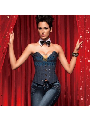 Fashion Blue Jeans Deep V Neck OL Plastic Botton Clousure Corset CF5134 Blue
