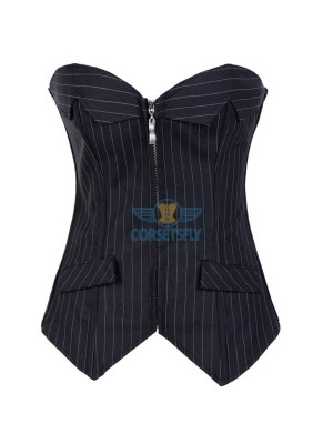 Fashion Pinstripe Denim OL Style Stripe Design Zipper Overbust Corset CF7082 Black