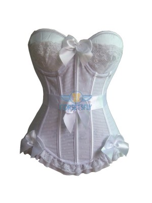 Fashion Ruffle Trim Waistband Padded Overbust Corset with 4 Piece Bow CF5138 White