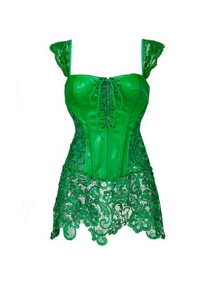 Faux Leather Shoulder Strap Zipper Back Corset with Lace Skirt CF7248 Green_01