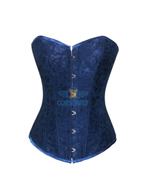 Floral Jacquard Weave Satin Strapless Wedding Sweetheart Overbust Corset CF7069 Blue