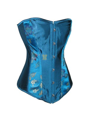 Gorgeous Noble Blue Floral Pattern Exotic Premium Stain Corset Top CF5084 Blue