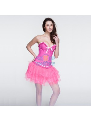 Hot Pink Ruffle Trim Bowknot Corset and Pink Layered Petticoat CF6816
