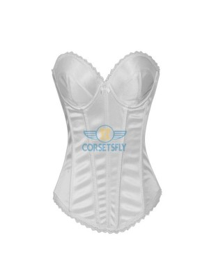 Hot Sexy Satin With Underwire Cups Wedding Bridal Overbust Corset CF7111 White