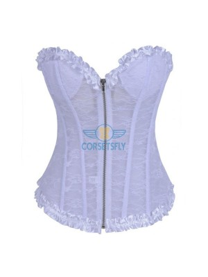 Lace Zipper Up Front With Underwire Cups Overbust Wedding Corset CF7110