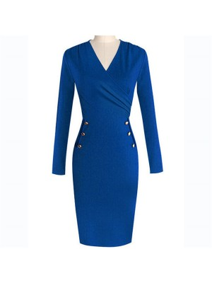 Lady's Chic Elegant Classic V Neck Long Sleeve Bodycon Pencil Dresses CF1630 Blue_01