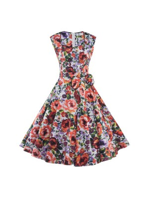 Lady's Floral Print Sweetheart Neckline Vintage Sleeveless Rockabilly Swing Dress CF1287_01