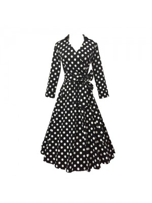 Lady's Retro V Neckline Lapel Classic Vintage Rockabilly Swing Dress CF1430 Black Dot_01