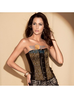 Leather Buckle Side Lace Up Back Floral Print Overbust Corset CF5006