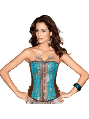 Leather Buckle Side Lace Up Back Floral Print Overbust Corset CF5007 Blue