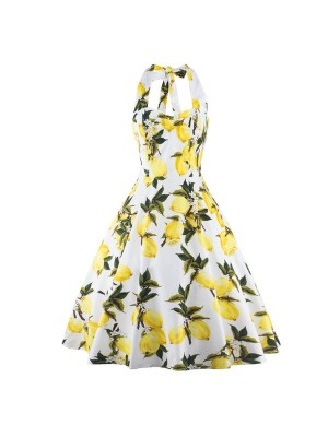 Lemon Floral Print Pinup Halter Rockabilly Vintage Swing Party Dress CF1272_01