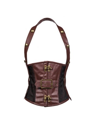 Men's Vintage Halter Steel Boned Faux Leather Steampunk Underbust Brown Corset CF8059_01