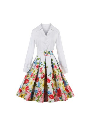 Multi Floral V Neckline Collar Chic Long Sleeve Rockabilly Swing Dress CF1441 Multi_01