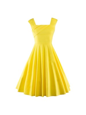 Pinup Classy Audrey Hepburn Vintage Sleeveless Rockabilly Swing Dress CF1235 Yellow_01