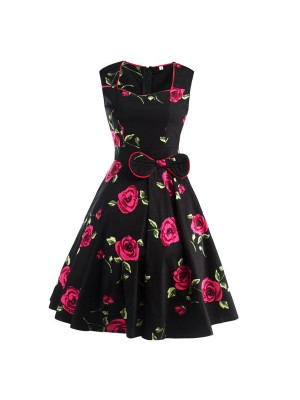 Pinup Floral Print Sweetheart Neckline Rockabilly Bowknot A-line Swing Dress CF1245 Rose_01