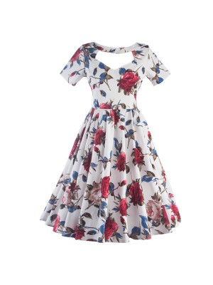 Pinup Rockabilly Floral Print A-line Vintage Short Sleeve Swing Dress CF1277_01