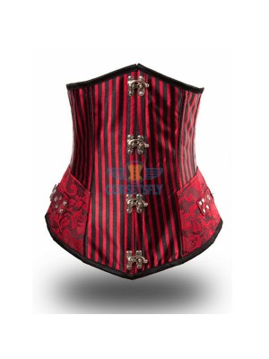 Red Palace Gothic Steampunk Steel Boned Buckle Rivet Underbust Corset CF8030