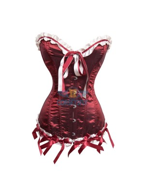 Red White With Ruffle Trim Princess Overbust Satin Bow Corset CF7041